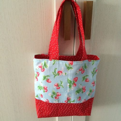 1 #handmade mini #baby/girl's tote/lunch bag, cath #kidston fabric, blue and red,  View more on the LINK: http://www.zeppy.io/product/gb/2/302029970499/