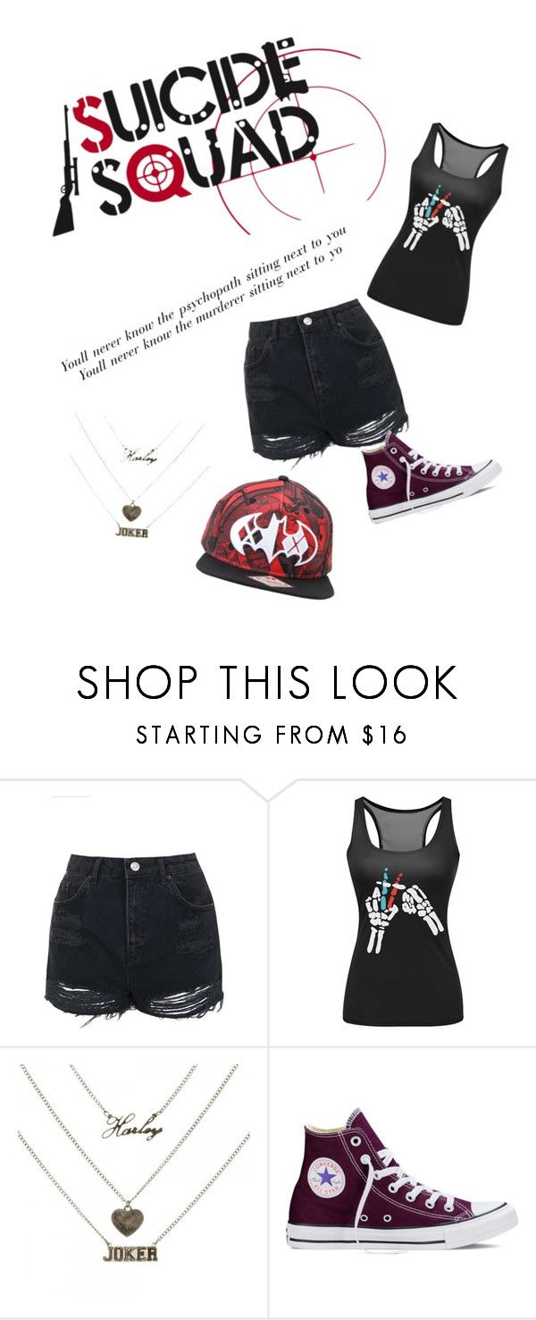 """Harley Quinn / Heathens inspired"" by srmagradutcher on Polyvore featuring Topshop and Converse"