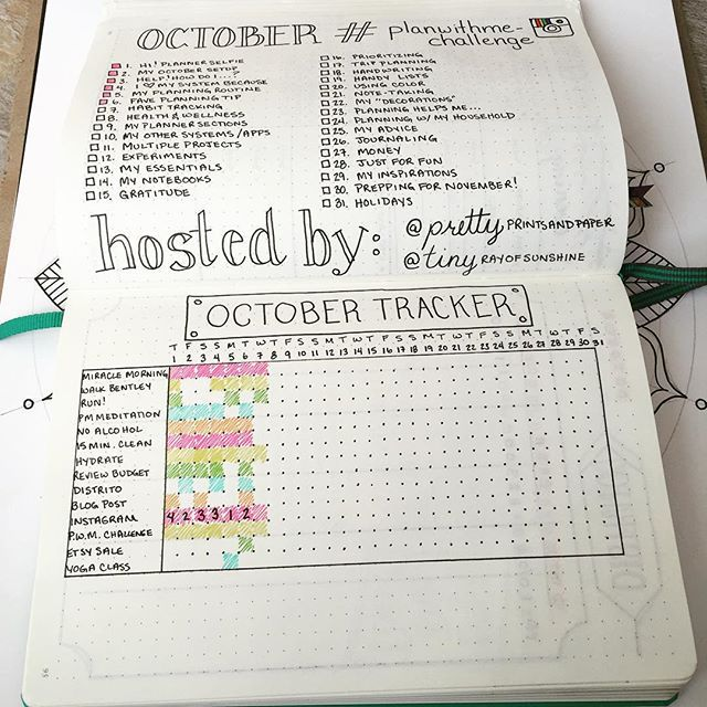 "#planwithmechallenge Day 7: Habit Tracking  I've changed up my habit tracker a bit this month. It was pretty tedious to draw out the full grid last month, so I decided to just accent the dots in my #BulletJournal to make a rough outline. I also quit calling it a ""habit"" tracker since some of the items I like to track are not necessarily habits ☺️ Oh, and I brain-farted on the number of days in October but in just rolling with the punches"