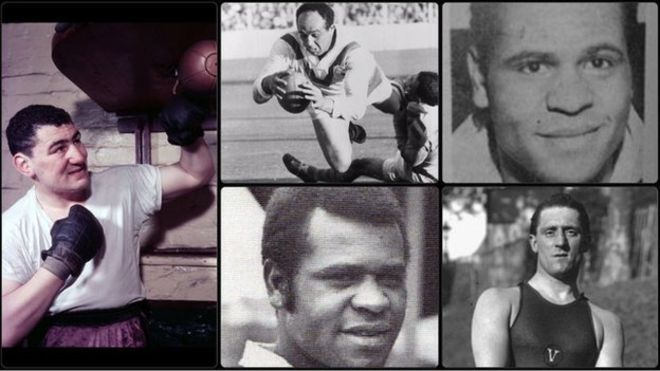 Clockwise from left: Joe Erskine (Getty Images); Billy Boston MBE (Getty Images); Johny Freeman; Paolo radmilovic; Colin Dixon