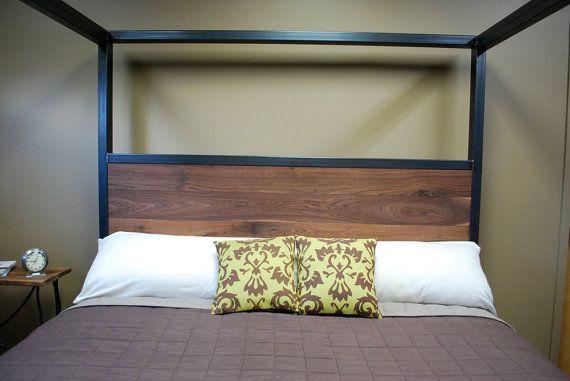 Kraftig Canopy Bed with Walnut от deliafurniture на Etsy