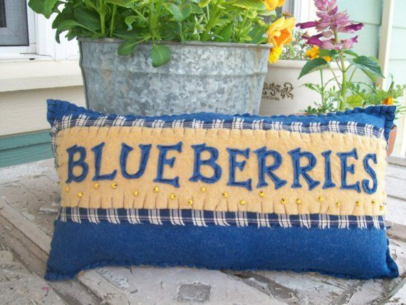 Vintage Style Blueberry Pillow by uneekpillows on Etsy