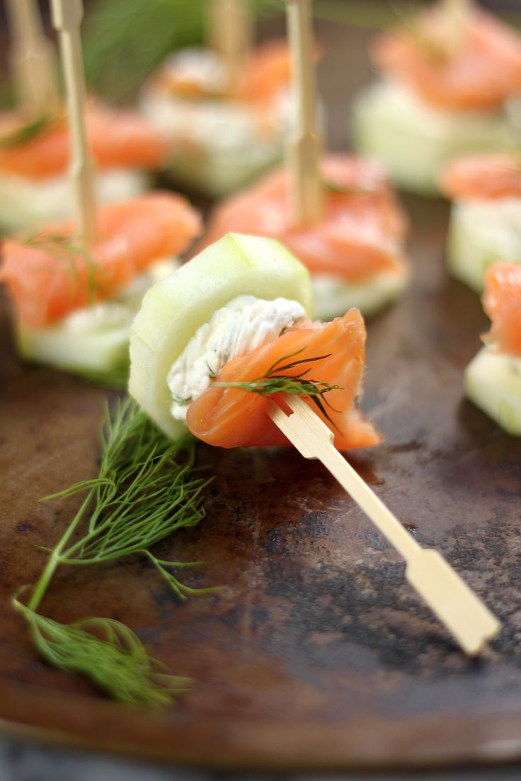 Smoked Salmon and Cream Cheese Cucumber Bites- sub wasabi for horseradish