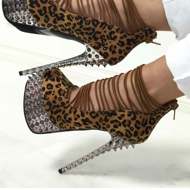 Leopard Spiky Printed Strappy High Heels