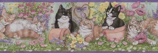 Gardening Kittens Wallpaper Border - Wallpaper & Border | Wallpaper-inc.com