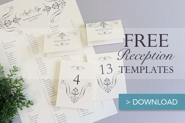 Free Printable Wedding Reception Templates