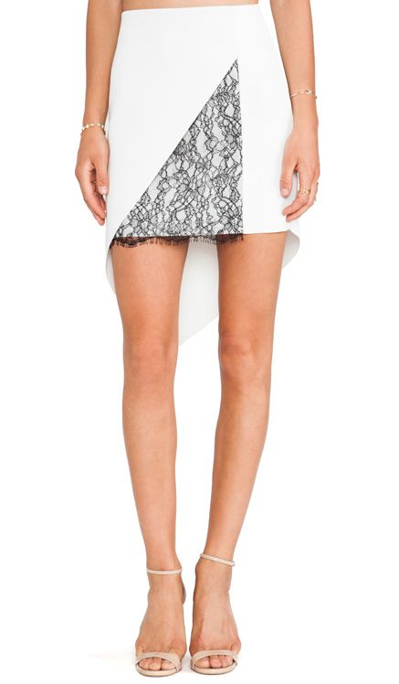 Robert Rodriguez Geo-Lace Skirt in Off White