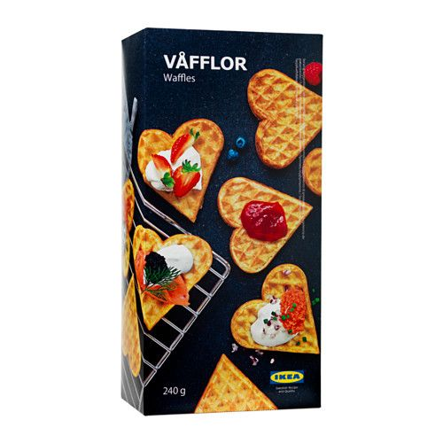 IKEA - VÅFFLOR, Waffles, frozen, In Sweden, thin and crispy heart-shaped waffles with whipped cream and jam is a popular light lunch or snack between meals. Heat the waffles in the oven. Serve instantly for the right crispness.
