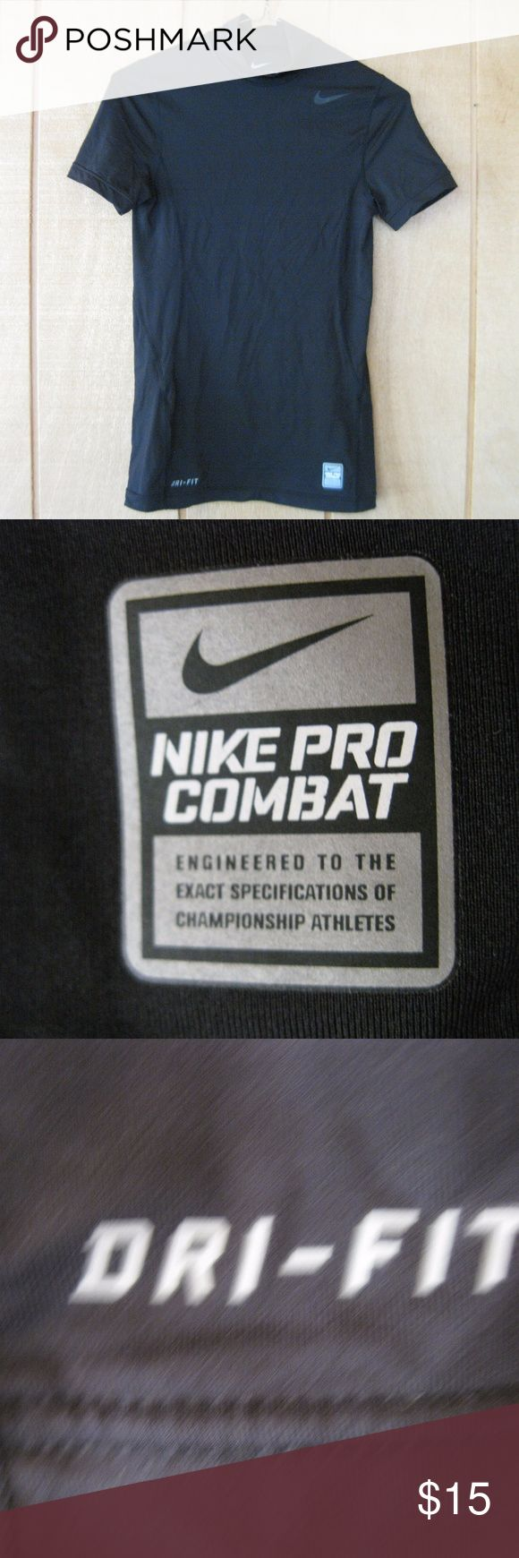 Women's Nike Pro-Combat Dri-Fit Compression Shirt Women's Nike Pro-Combat Dri-Fit Short Sleeve Compression Shirt Black Size Large  Because it's compression it is quite small but stretchy. Blk1 Nike Tops Tees - Short Sleeve