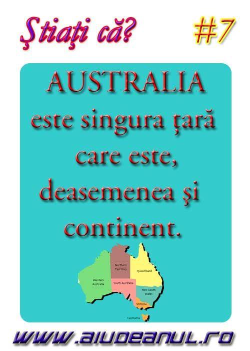 Australia este singura ţară care este, deasemenea şi continent  ?
