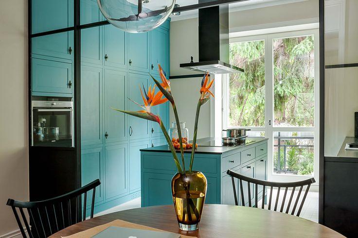 blue, handpainted kitchen