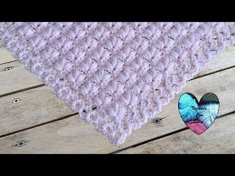 Puntada abanico triangular con doble punto alto ganchillo crochet - YouTube