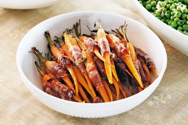Liven up baked veggies by wrapping them in salty strips of prosciutto.