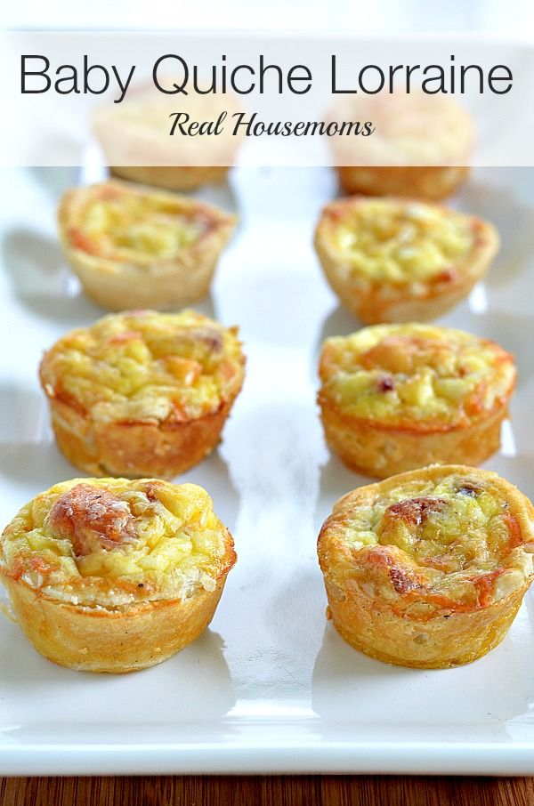 Baby Quiche Lorraine •2- 9 inch pre-made, unbaked pie crusts •½ cup crispy bacon crumbles •½ cup finely shredded Swiss Cheese •4 whole eggs •½ cup milk •2 oz. cream cheese, melted •½ tsp salt •½ tsp ground mustard •⅛ tsp pepper •⅛ tsp nutmeg