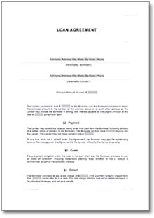 printable sample personal loan contract form - Sample Lending Contract