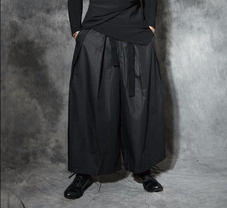 S-5XL New Men's Punk harem pants loose trumpet pants skirts hairstylist casual pants wide legs trousers Culottes singer costumes