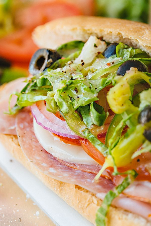 Classic Italian Sub Sandwich with an Herbaceous Red Wine Vinaigrette
