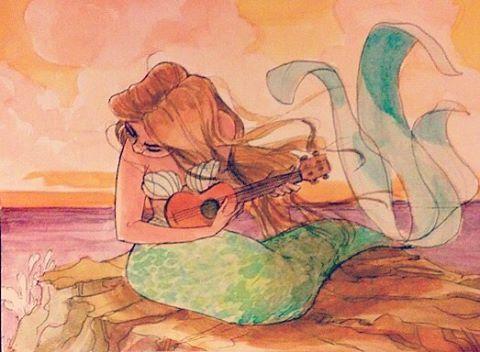 #mermay #characterdesign #sketch #watercolors #art #mermaid #ukulele