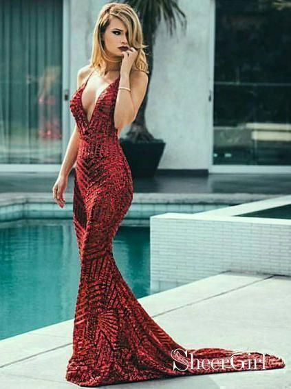1df9d4a32f3 Sexy Backless Burgundy Mermaid Prom Dresses Deep V Neck Formal Dress  ARD1603-SheerGirl
