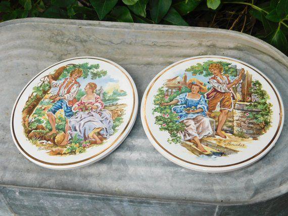 Pair Of Boucher Art Ceramic Tile Trivets, Vintage Trivets ...
