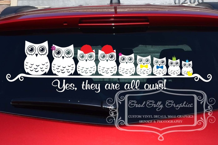 Stick Family Owl Family Vinyl Vehicle Decal Vinyls Kid And I Am - Owl family custom vinyl decals for car
