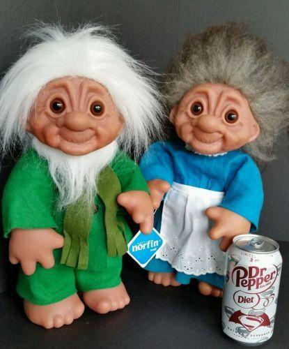 "VINTAGE THOMAS DAM GRANDPA AND GRANDMA NORFIN 14"" TROLLS 1977 MADE IN DENMARK - http://dolls.goshoppins.com/dolls/vintage-thomas-dam-grandpa-and-grandma-norfin-14-trolls-1977-made-in-denmark/"