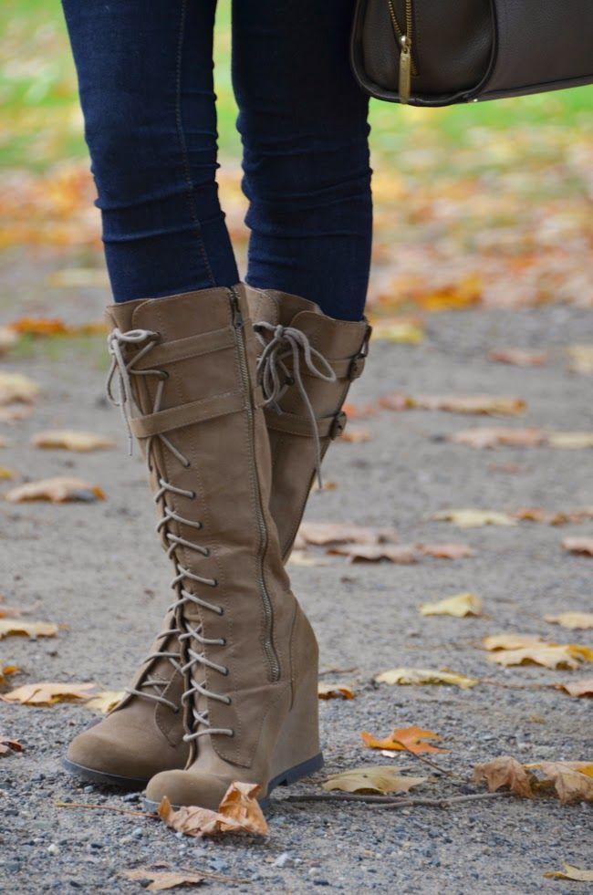 bottes compensés kaki/gris lacets