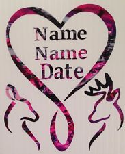 "PERSONALIZED NAMES/DATE Deer Infinty Heart Vinyl Decal 5"" Country Browning Buck"