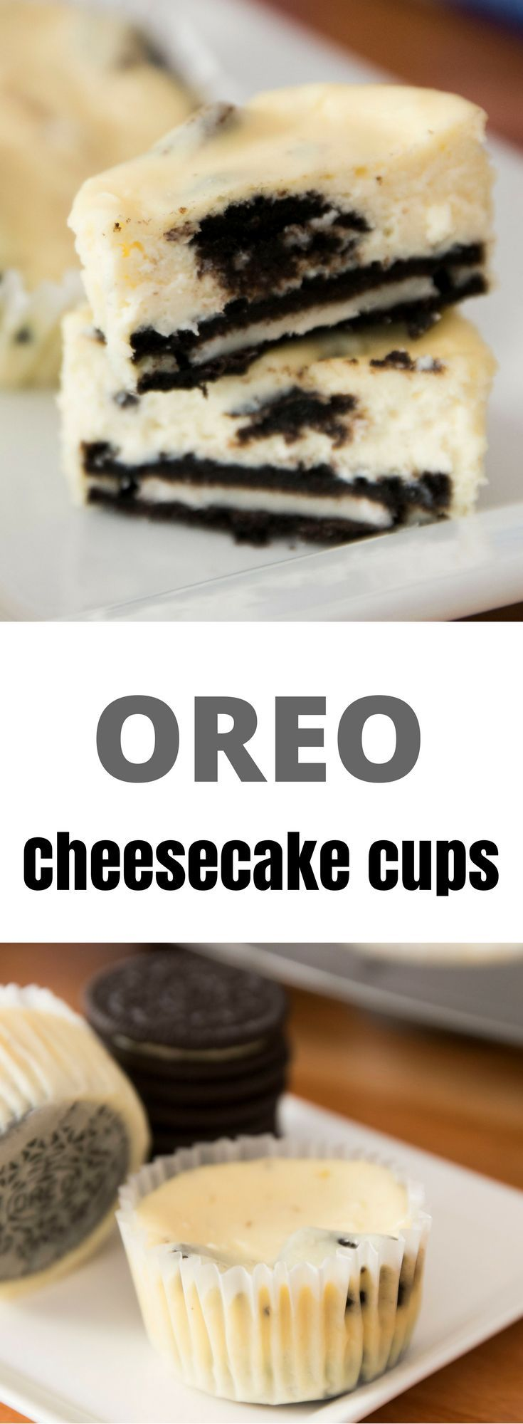This Oreo Cheesecake Cups recipe is easy to make and amazingly delicious. It's also fun to hide the Oreo at the bottom of the cup!