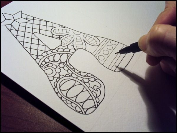 doodled letters