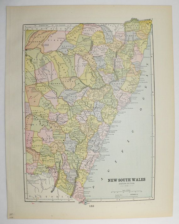 New South Wales Map, Queensland Map, Victoria Australia Map 1894 Vintage Map, Australian Gift Idea for the Home, Antique Art Map to Frame by OldMapsandPrints on Etsy