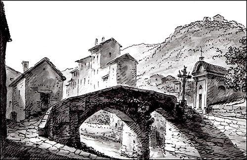 Il ponte di Tredozio che conduce alla Pieve, in un disegno di Romolo Liverani del 1858 - E' qui che comincia la nostra storia che racconta l'inizio della fine di don Pietro