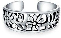 Bling Jewelry Adjustable Mid Finger Ring Flower 925 Silver Toe Rings.