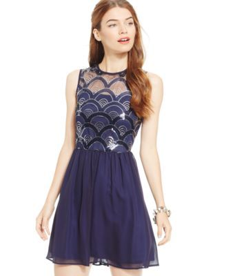 As U Wish Juniors' Sequin Art Deco Party Dress