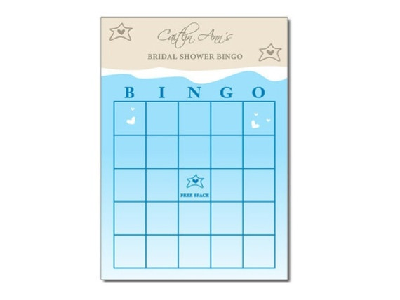 Beach Themed Bingo Printable Party Game - Bridal / Baby Shower Game PDF file or can be printed