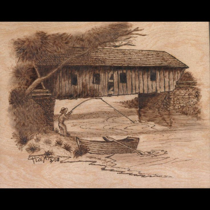 Gone Fishing.pyrography (woodburned) on 8 x 10 inch birch plywood.