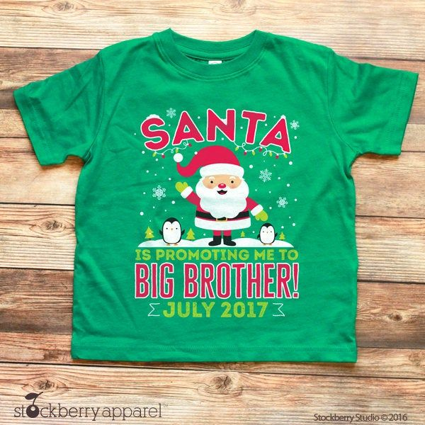 Santa/'s promoting me to BIG brother kids shirt big brother shirt big brother announcment shirtexpecting shirtbig brother christmas shirt