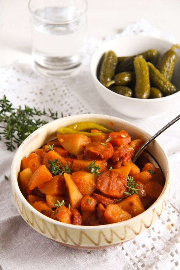 potato goulash ed 4 Easy Potato Stew with Sausages and Vegetables