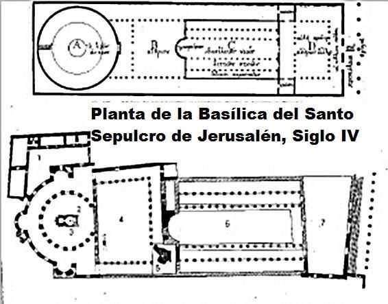 Planta de la Basílica del Santo Sepulcro en el siglo IV, Jerusalén. Fusión de planta basilical y de la central, propia del martyrium. Desde el atrio se abría una iglesia de cinco naves que terminaban en un ábside con doce columnas en el interior, simbolo de los doce apostoles.