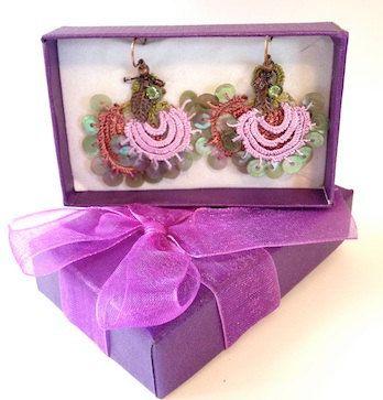 Hand Fan Turkish Needle Lace Earrings on Etsy,
