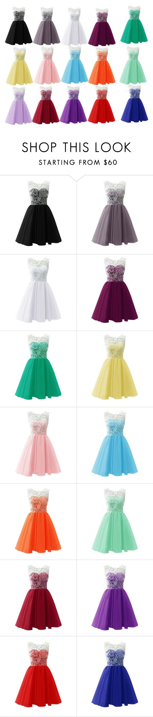 """Which color looks best on you?"" by gingger8 on Polyvore featuring Color, dance, dresses, Homecoming and yass"