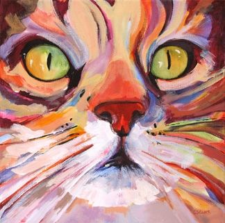 Daily Painting, Intensely Curious, contemporary cat painting, painting by artist Carolee Clark