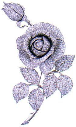 """BROOCH - """"ROSE""""  DESIGNED BY VIKTOR NIKOLAEV, GENNADY ALEKSAKIN, MOSCOW 1970  Platinum, diamonds (47.23 carats), 5 7/8 x 4 in (15 x 10 cm)  The State Diamond Fund of the Russian Federation  Inv. No. AF-155"""