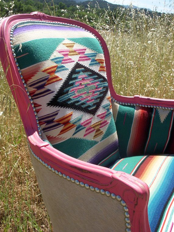 Made to order** Pink & Turquoise Cowhide and Serape Chair