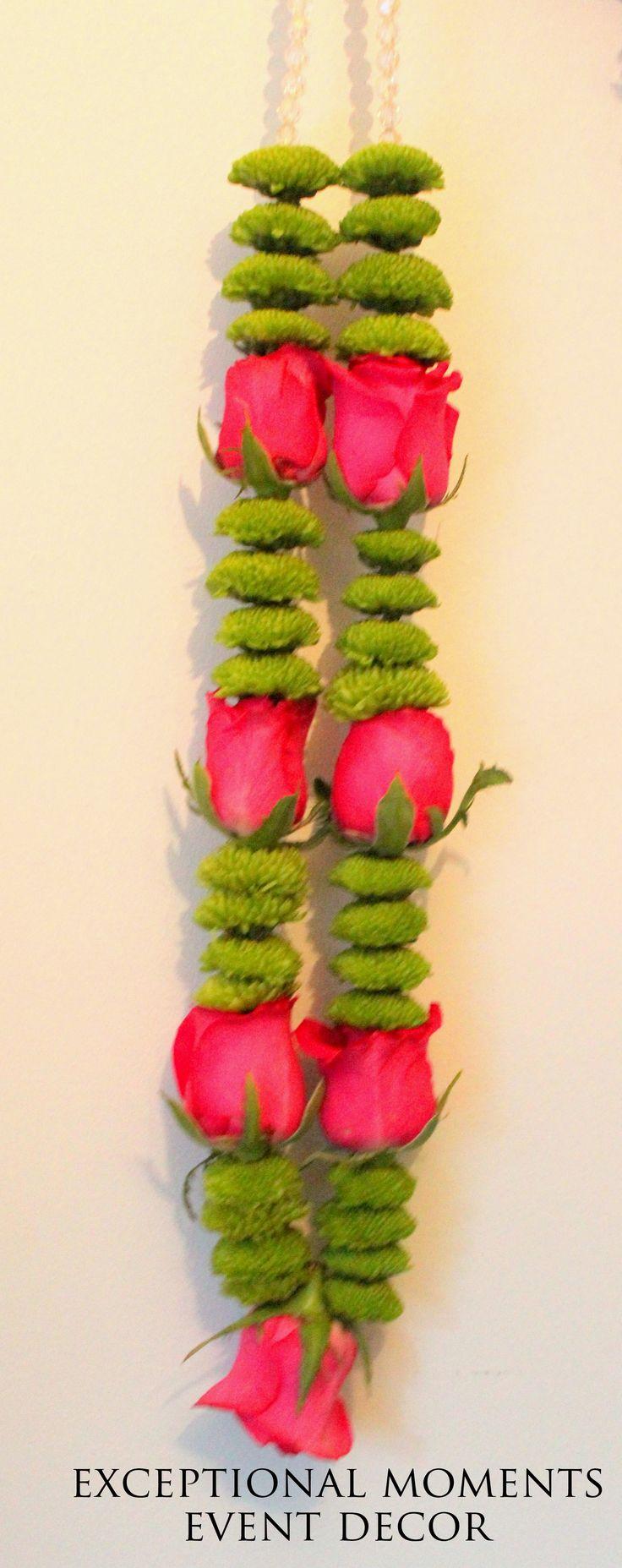 fuchsia Rose, green button chrysanthemum wedding garland