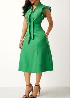 Green High Waist Tie Neck Pocket Dress   Rosewe.com - USD $33.23