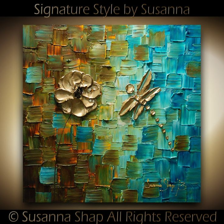 ORIGINAL Dragonfly Palette Knife Painting Abstract Contemporary Fine Art textured modern brown blue Art. $325.00, via Etsy.