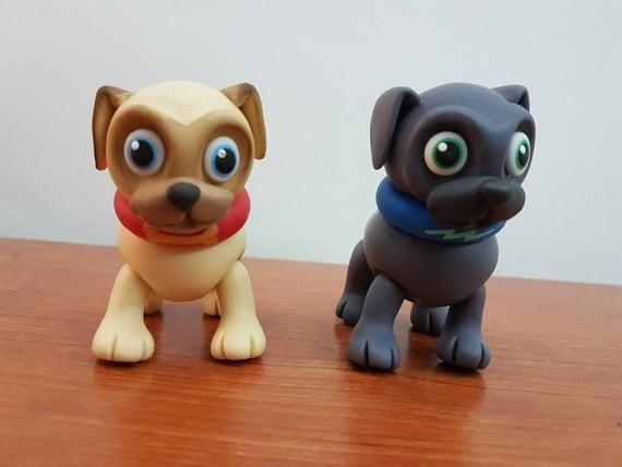 Puppy Dog Pals Cake Topper Set Cold Porcelain 5 Pieces New Sale