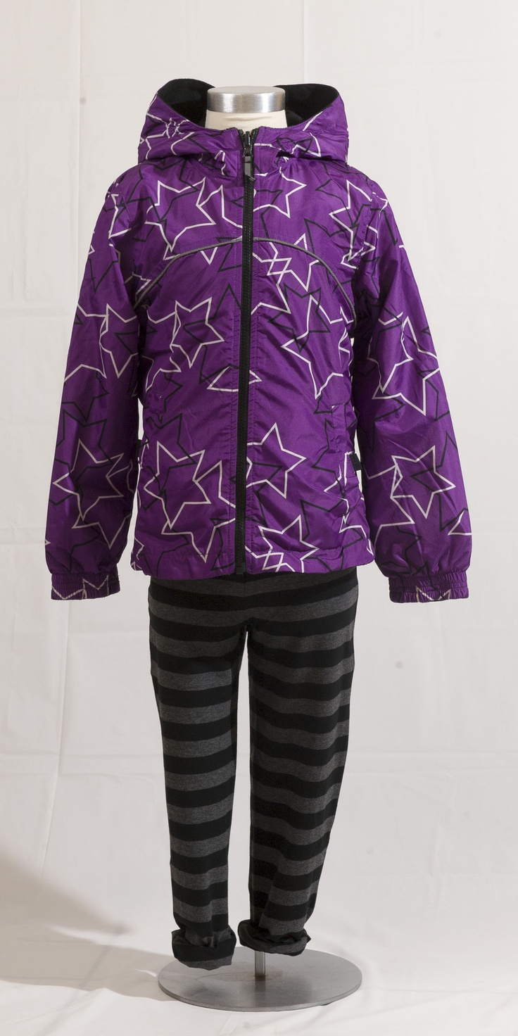 CHEEKY: Reversible purple parka with black and white stars by Nevada, $39.99 at Sears.com (sizes 7-16); Black and grey stripped leggings by Nevada, $12.97 at Sears.com (sizes 7-16). Enter to win a $ 500 shopping spree with @TheProvince and Brentwood Town Centre: http://theprov.in/pinandwin #backtoschool