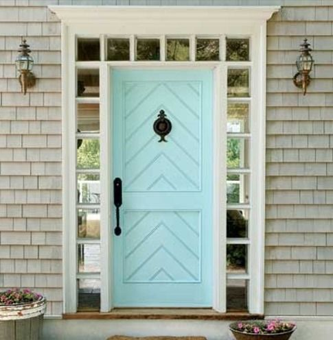 Sky blue door cape cod grey shingles classic coastal - What color door goes with gray house ...